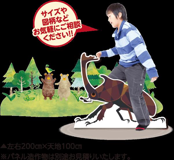 ゲルポリ印刷/森・カブトムシパネル